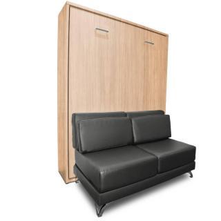 Armoire lit escamotable TOWN chêne canapé gris graphite intégré couchage 140 * 200 cm