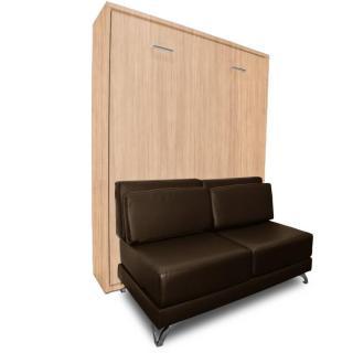 Armoire lit escamotable TOWN chêne canapé similicuir marron intégré couchage 140 * 200 cm