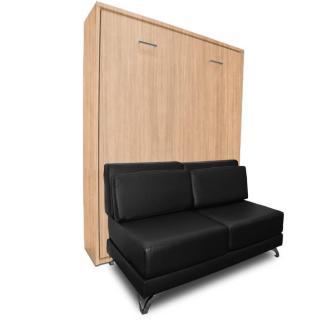 Armoire lit escamotable TOWN chêne canapé similicuir noir intégré couchage 140 * 200 cm