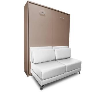 Armoire lit escamotable TOWN taupe canapé revêtement polyuréthane blanc intégré couchage 140 * 200 cm