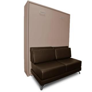 Armoire lit escamotable TOWN taupe canapé intégré similicuir marron couchage 140 * 200 cm