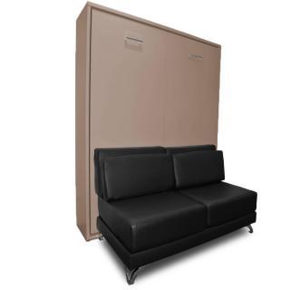 Armoire lit escamotable TOWN taupe canapé intégré similicuir noir couchage 140 * 200 cm