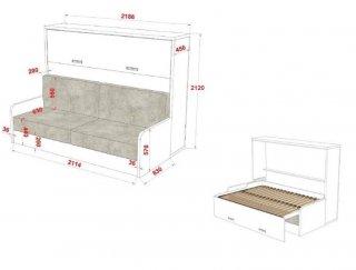 Armoire lit transversale BORA SOFA avec canapé intégré Couchage 160 cm