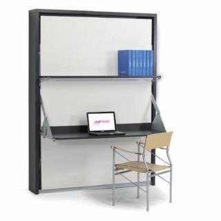 Armoire lit verticale GARRY couchage 160 * 200 cm bureau et étagère fournis