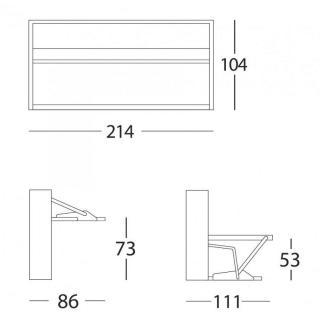 Armoire lit transversale BDESK couchage 90 * 200 cm