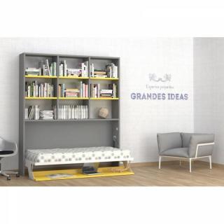 armoire lit escamotable combin bureau au meilleur prix armoire lit transversale ares grise et. Black Bedroom Furniture Sets. Home Design Ideas