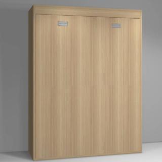 Armoire lit verticale AGATA chêne couchage 160*200cm poignées gris mat