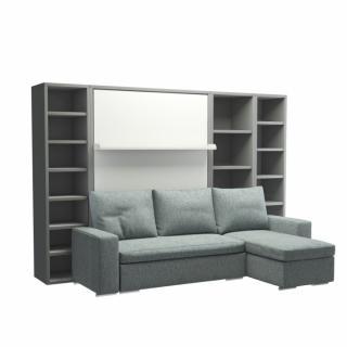 Armoire lit verticale MALDIVES avec canapé méridienne droite et rangements intégrés Couchage 140*200cm
