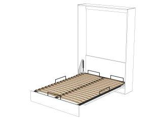 Armoire lit escamotable DYNAMO blanc mat Ouverture assistée et pied automatique, couchage 140*200 cm