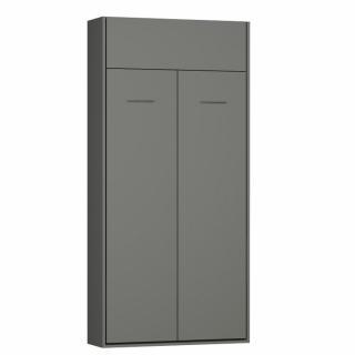 Armoire lit escamotable DYNAMO gris mat ouverture assistée couchage 90*200 cm