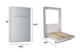 Armoire lit escamotable KOMPACT Ouverture assistée, coloris blanc mat couchage 140*200 cm.