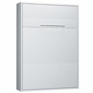 Armoire lit escamotable KOMPACT Ouverture assistée, coloris blanc mat couchage 160*200 cm.