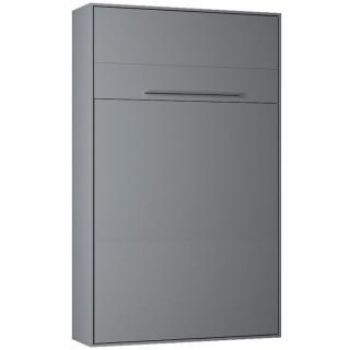 Armoire lit escamotable KOMPACT Ouverture assistée, coloris gris mat couchage 160*200 cm.