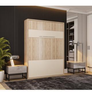 Armoire lit escamotable MYKONOS chêne / beige couchage 140*200 cm.