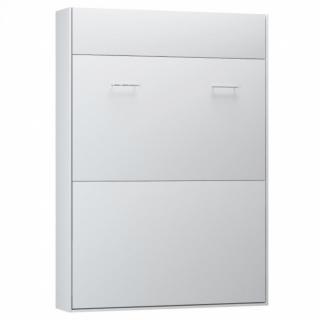 Armoire lit escamotable STUDIO Ouverture assistée et pied automatique blanc mat couchage 140*200 cm