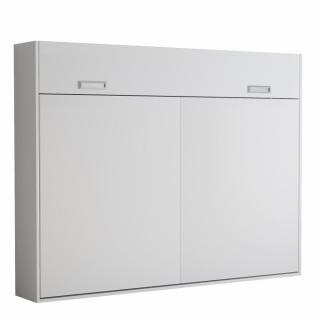 Armoire lit escamotable VERTIGO blanc mat couchage 140*200 cm