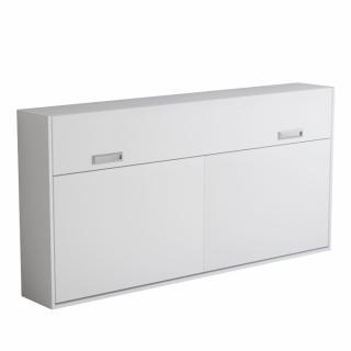 Armoire lit escamotable VERTIGO blanc mat couchage 90*200 cm