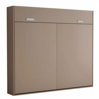 Armoire lit escamotable VERTIGO taupe mat couchage 160*200 cm