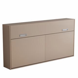 Armoire lit escamotable VERTIGO taupe mat couchage 90*200 cm