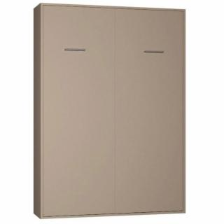 Armoire lit escamotable SMART-V2  taupe mat couchage 140*200 cm.