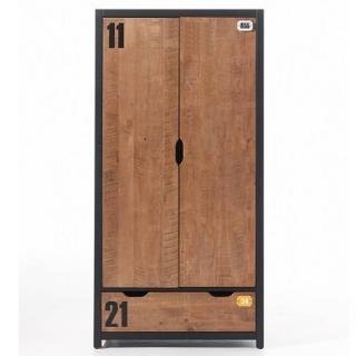 Armoire MANUFACTURE de style industriel avec 2 portes et 1 tiroir