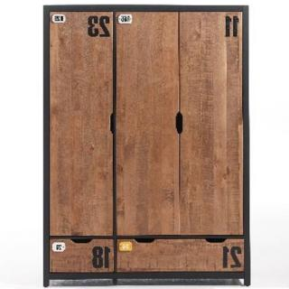 Armoire MANUFACTURE de style industriel 3 portes et 2 tiroirs