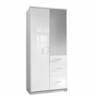 Armoire penderie COOPER blanche avec miroir 2 portes battantes 3 tiroirs