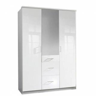 Armoire penderie COOPER blanche avec miroir 3 portes battantes 3 tiroirs