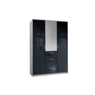 Armoire COOPER 3 portes 3 tiroirs largeur 135 coloris laqué noir / blanc