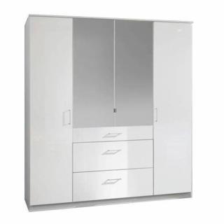 Armoire penderie COOPER blanche avec miroirs 4 portes battantes 3 tiroirs