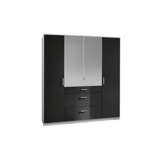 Armoire penderie COOPER noire avec miroirs 4 portes battantes 3 tiroirs