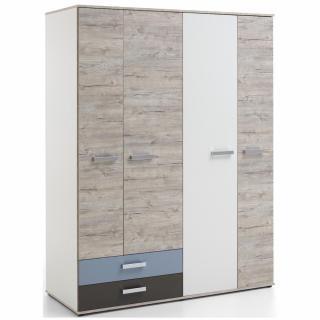Armoire NANTES coloris chêne sable, gris lava, blanc et bleu denim 4 portes 2 tiroirs 5 plateaux 3 tablettes internes
