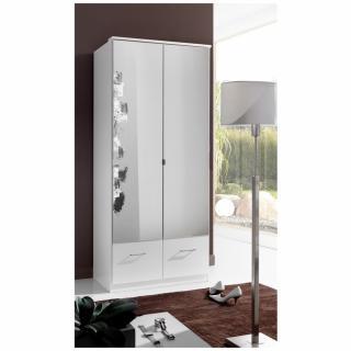 Armoire penderie DINGLE 2 portes miroirs 2 tiroirs largeur 91 blanche
