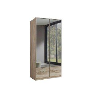 Armoire penderie DINGLE 2 portes miroirs 2 tiroirs largeur 91 chêne