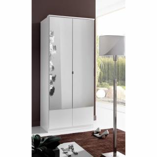 Armoire penderie DINGLE 2 portes miroirs largeur 91 blanche