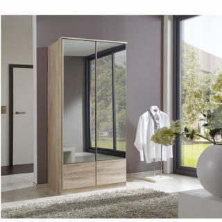 Armoire penderie DINGLE 2 portes miroirs largeur 91 chêne