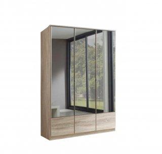 Armoire penderie DINGLE 3 portes miroirs largeur 135 chêne
