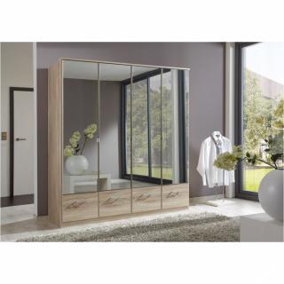 Armoire penderie DINGLE 4 portes miroirs 4 tiroirs largeur 179 chêne