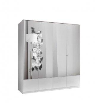 Armoire penderie DINGLE 4 portes miroirs largeur 179 blanche
