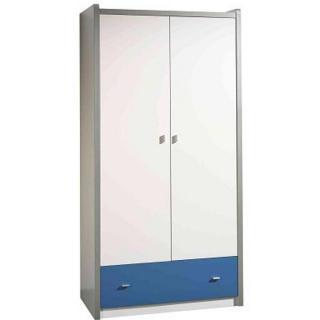 Armoire dressing KYLE blanche avec tiroir bleu