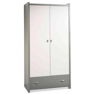 Armoire dressing KYLE blanche avec tiroir gris