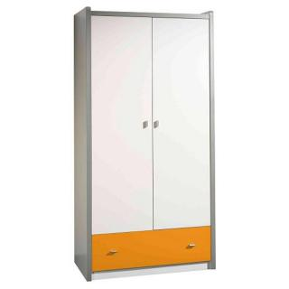 Armoire dressing KYLE blanche avec tiroir orange