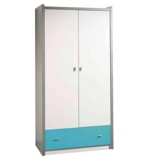 Armoire dressing KYLE blanche avec tiroir turquoise