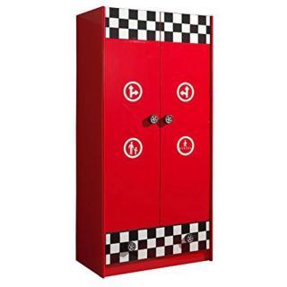Armoire TUCANA 2 portes 1 tiroirs design rouge