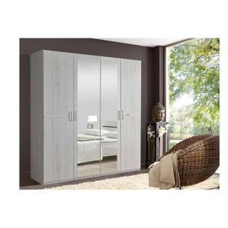 Armoire 4 portes 2 miroirs CARAMELLA 180 cm décor chêne blanchi.