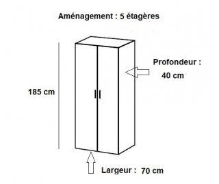 Armoire de rangement étagères  LUND blanc mat 70 x 40 cm profondeur