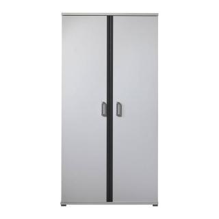 Armoire SOAN blanche/grise 2 portes