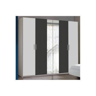 Armoire THALIA à portes battantes coloris blanc et gris anthracite
