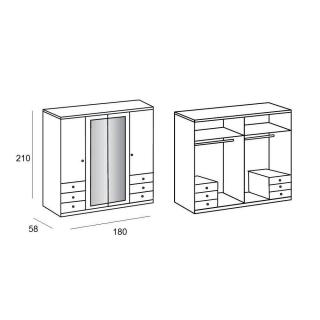 dressings et armoires meubles et rangements armoire viborg 180cm ch ne style scandinave. Black Bedroom Furniture Sets. Home Design Ideas