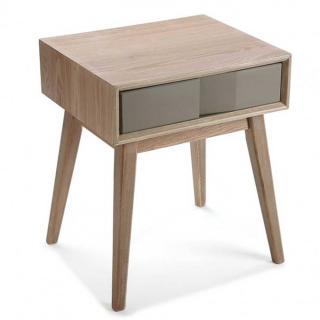 Chevet ARVIKA en bois gris 1 tiroir laque taupe